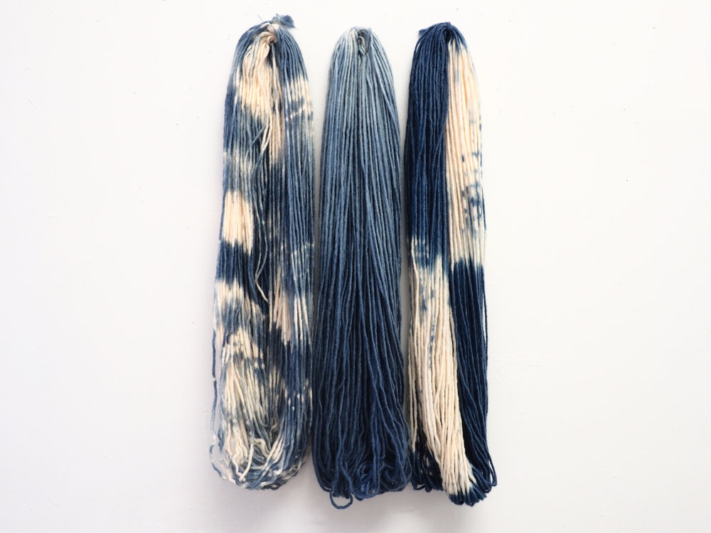 Natural indigo-dyed wool 25 x 12 in 2017