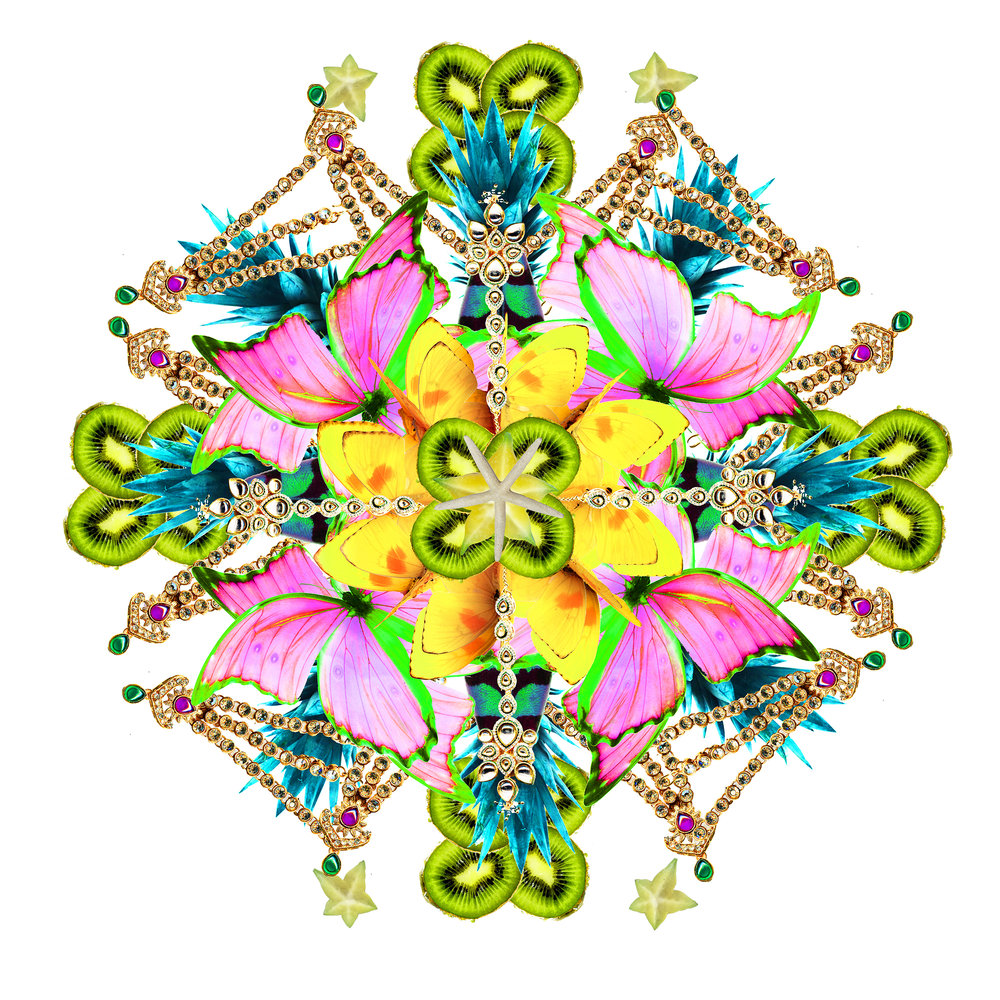 abacaxi mandala Digital collage 44 x 44 in 2013