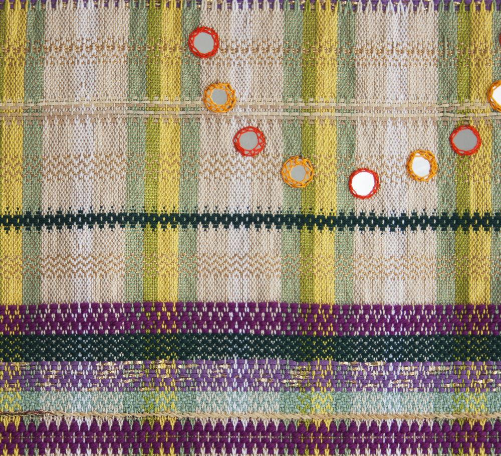 Metallic Mandala Handwoven Tapestry  detail shot