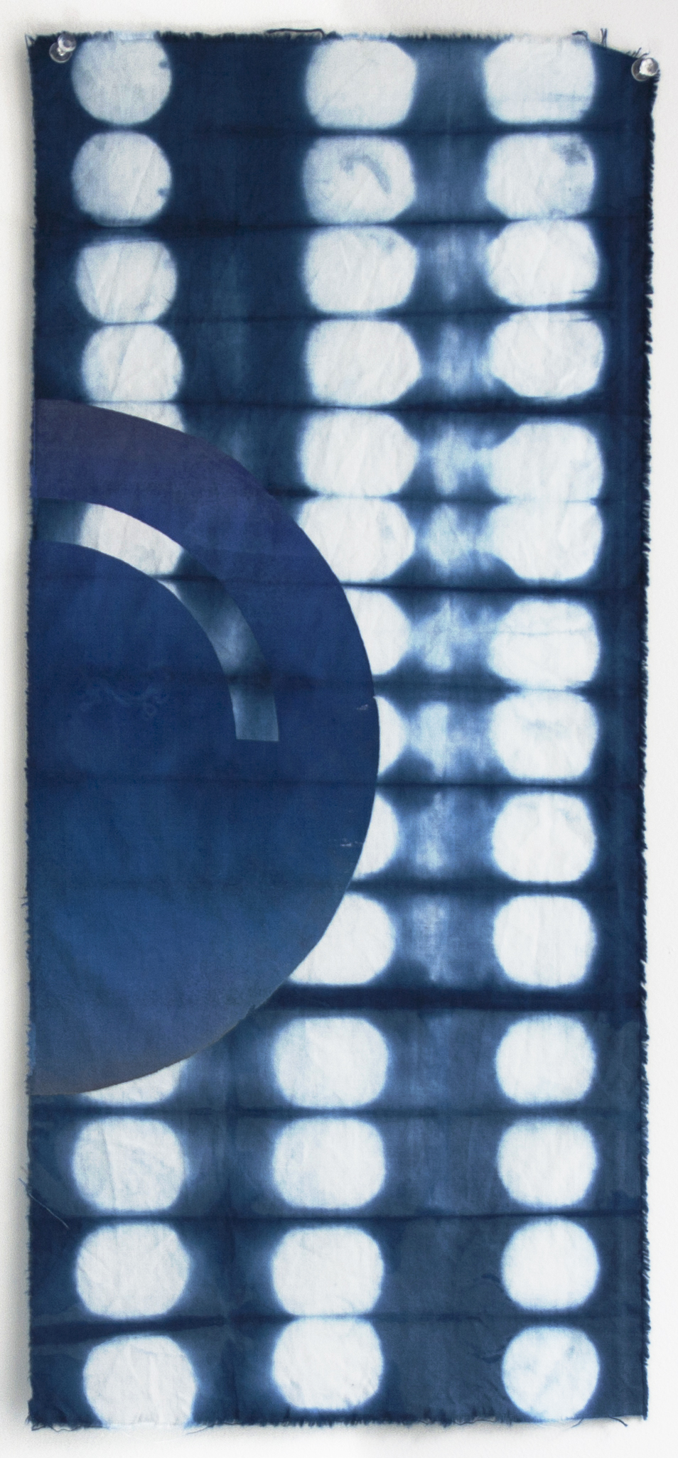 Lunar Phase Shibori 9.5 x 21 in  Natural indigo dye shibori, and screenprint on cotton 2017