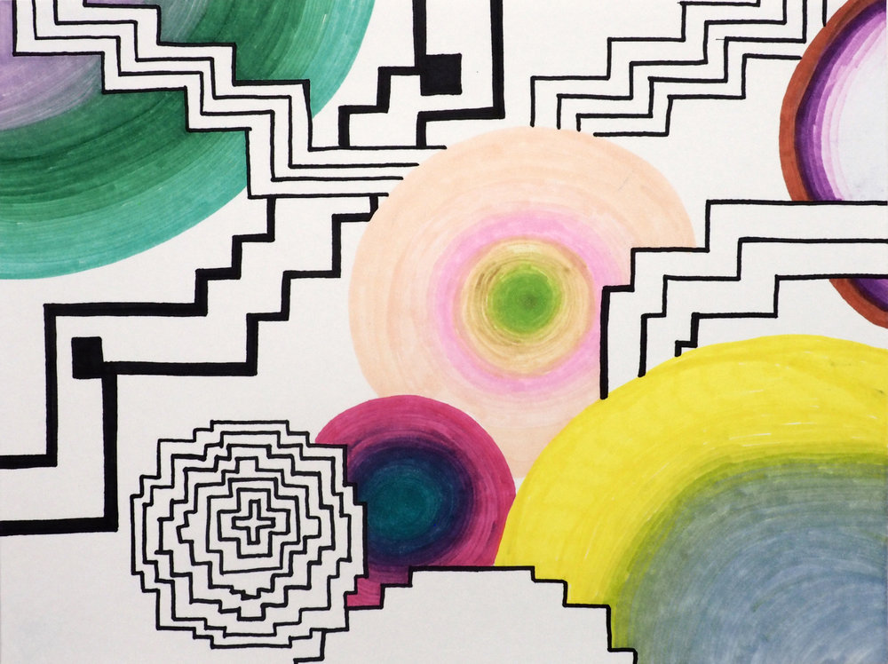 Dimensions   marker on paper 9 x 12 in 2017
