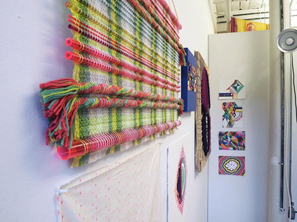 Textile, screenprint,and drawing installation shot. MASS MoCA Open Studios, December 2017.