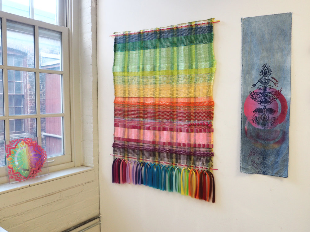Textile and screenprint installation shot.  MASS MoCA Open Studios, December 2017.