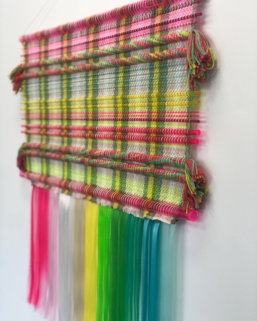 Handwoven tapestry- Glass, plastic, wool, and cotton.  21 x 48 in 2017