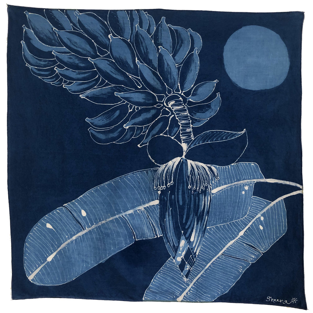 This Love is Like a Banana Tree  Natural indigo dye process and batik resist on cotton 21 x 21 in 2017