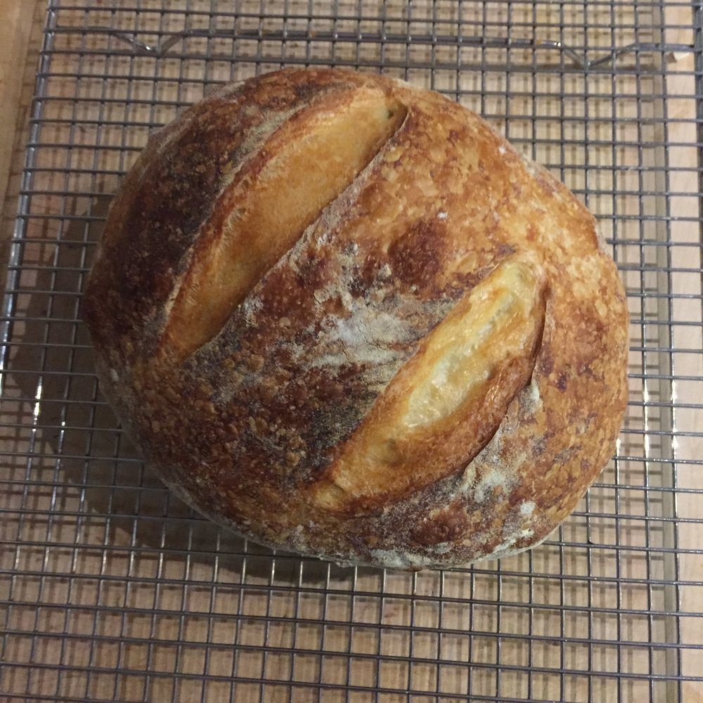 Loaf Number Two. I used this recipe after recommendations from people who have made sourdough recommended it to me. To me this was my favorite one in terms of simplicity. They use the metric system, so it's also very helpful if you don't have a scale.