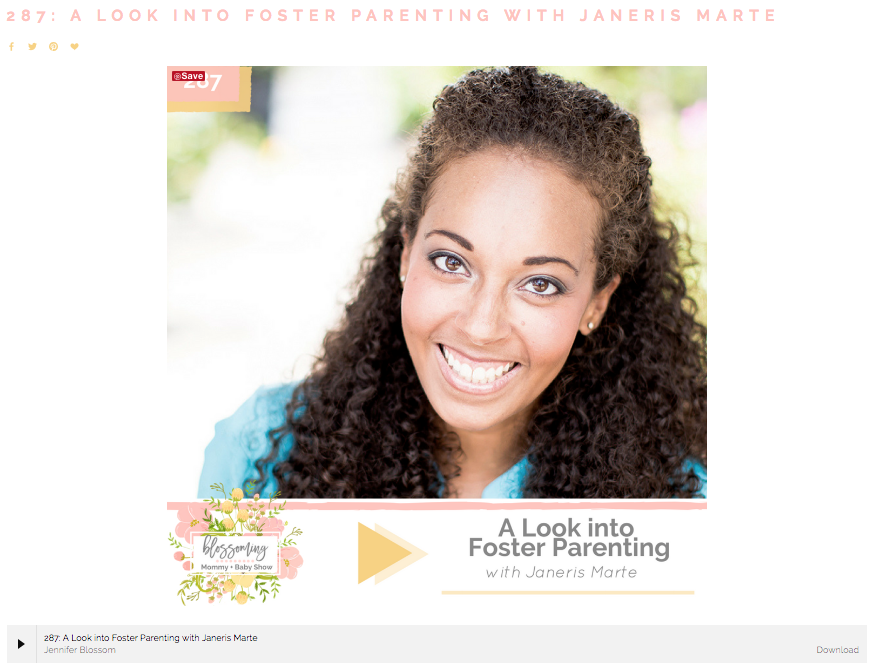 Janeris Marte interviewed by Jennifer Blossom of Blossoming Mommy and Baby Podcast. They speak about her experience with foster care and adoption. They speak about adoption photography in Miami and other aspects of Miami Adoption