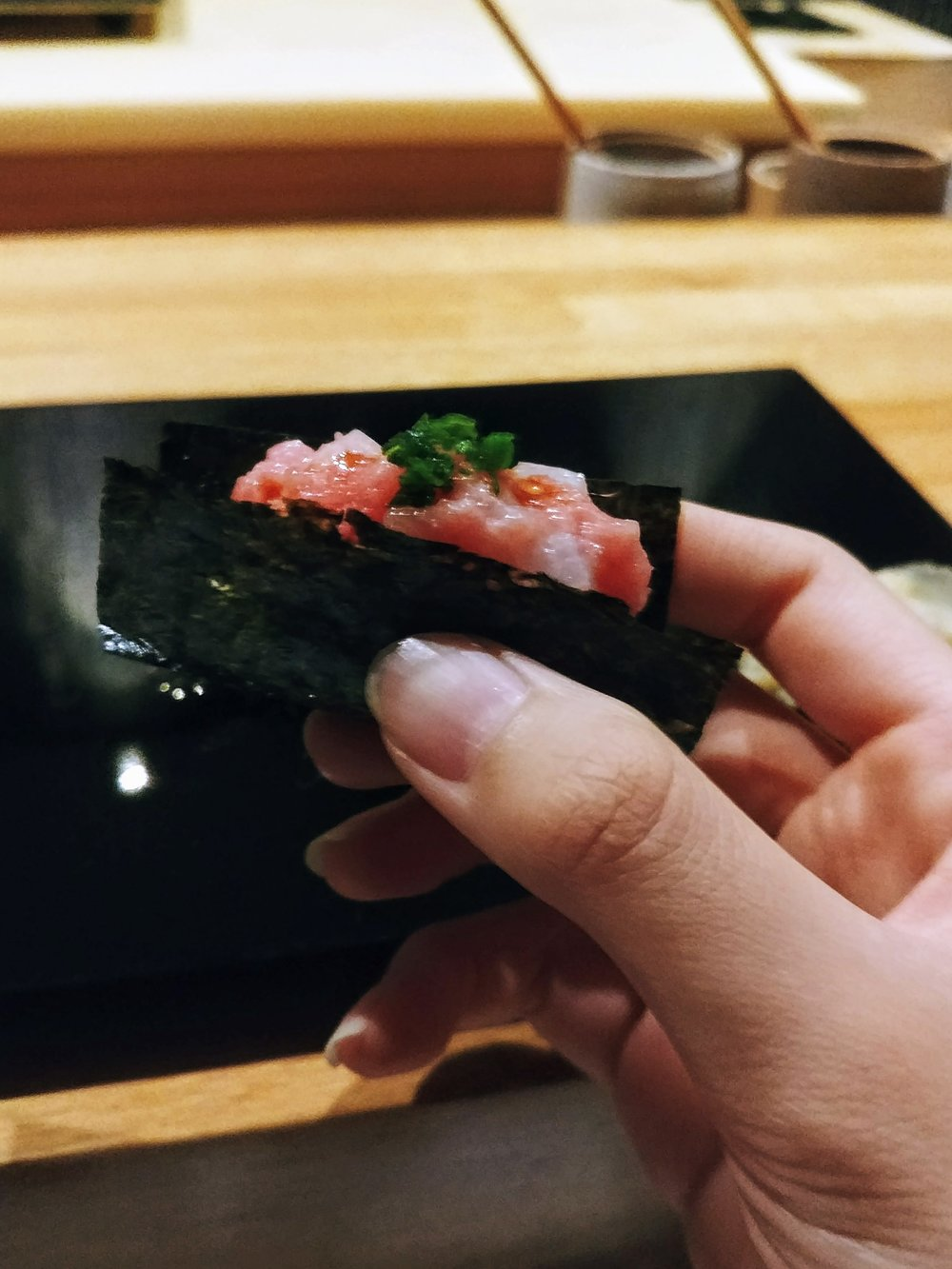 Chopped bluefin tuna - The crunchy-ness of the seaweed really highlights the creamy-ness of the tuna, like the fish dissolving once it hits into your mouth.