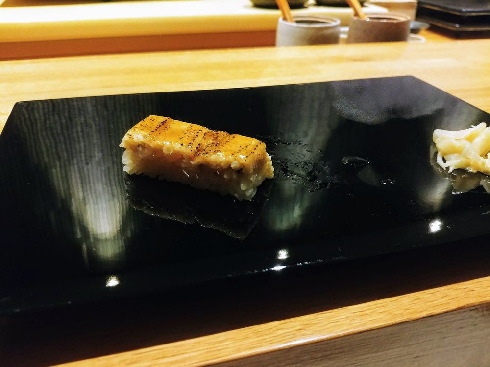 Sea eel - Yup that's right, we are off to a high adventure again! This piece was SENSATIONAL with the natural sweetness of the fish enhanced from the blow torch and the texture is just so soft that leaves you swimming in the clouds #mytopfavourites