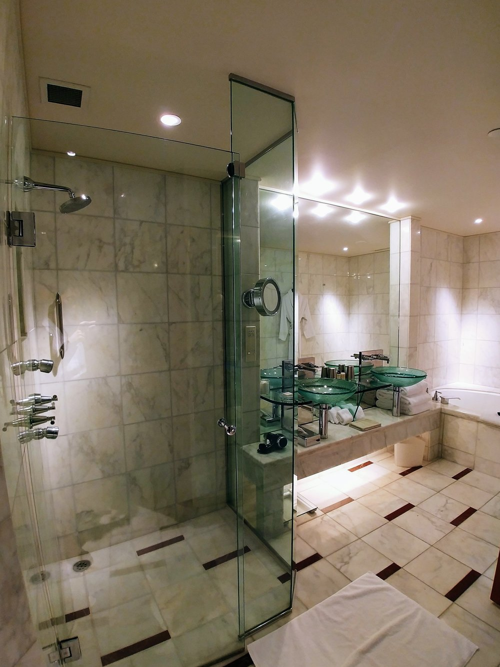 Love the grand-ness of this bathroom