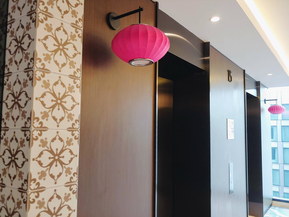 Love the pink lanterns at the side of the lifts - do you know that it will light up to indicate that the lift has arrived? How cute!