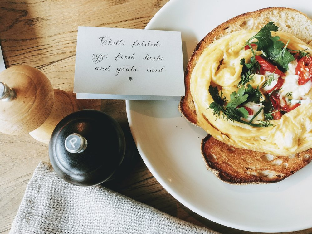 Breakfast the next morning, calligraphy done by @objectif_lettering