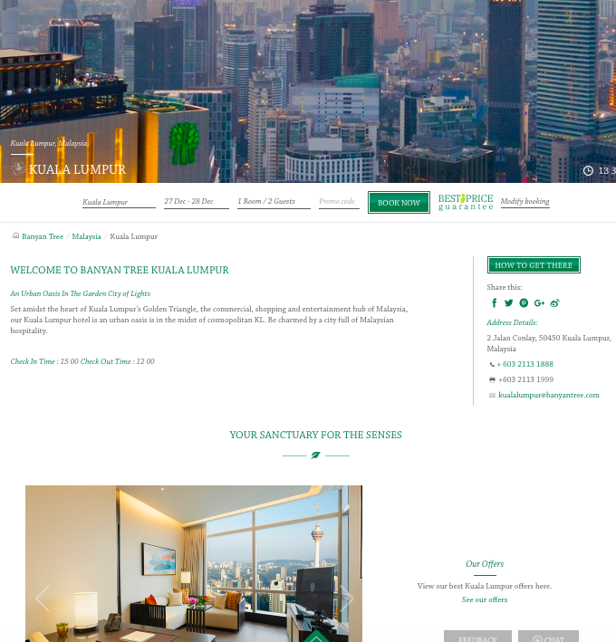 Website - A generic website as expected with a global hotel chain. It's clean and easy to find information at one click away. It is also has a slight fresh feel to it to bring a sense of relaxation and rejuvenation.