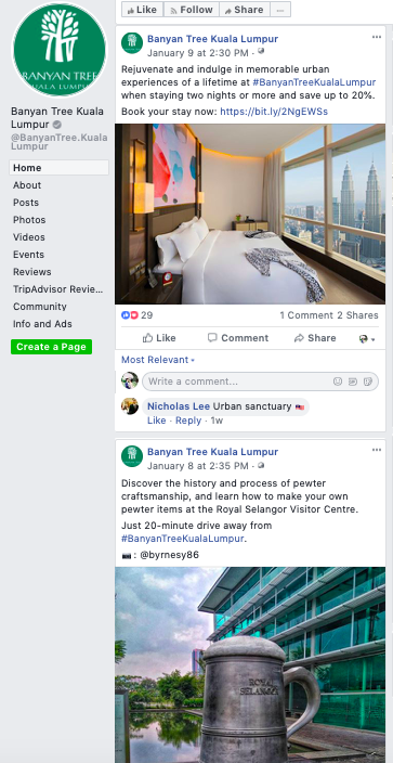 Facebook - As a new hotel, I think they are doing a great job on engagement and content. The content and images are carefully planned with a variety of user-generated content, F&B and own content.