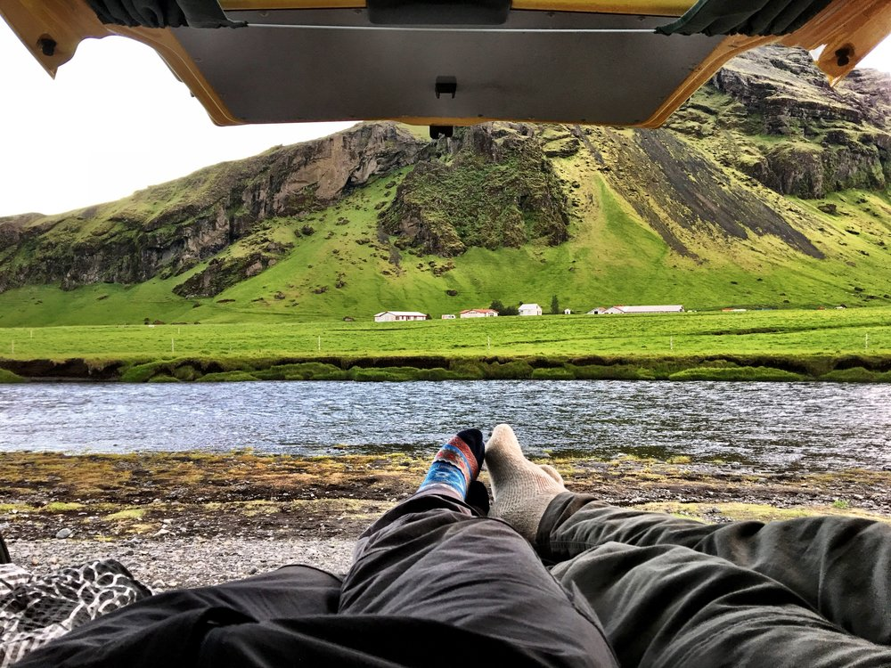 View from the back of our camper van in Iceland. By far the cheapest to see and stay around Iceland.