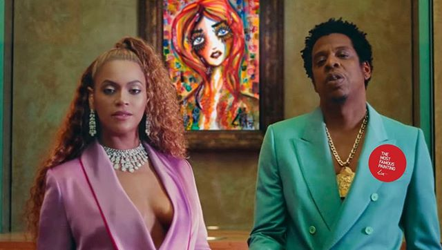 #jaz x @beyonce are the most famous painting. @sabet in the back