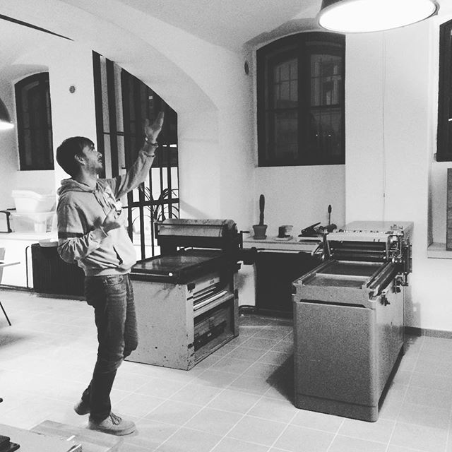 This is @karelprokes one amazing guy who runs letterpress studio in Praque. He reacently moved into new space which he shares with girls from @reformat_. There will be an opening party very soon.. Love the space already.