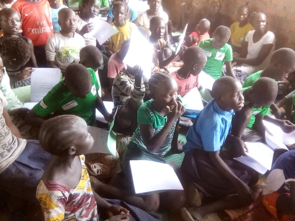 Children in South Sudan getting their exam results