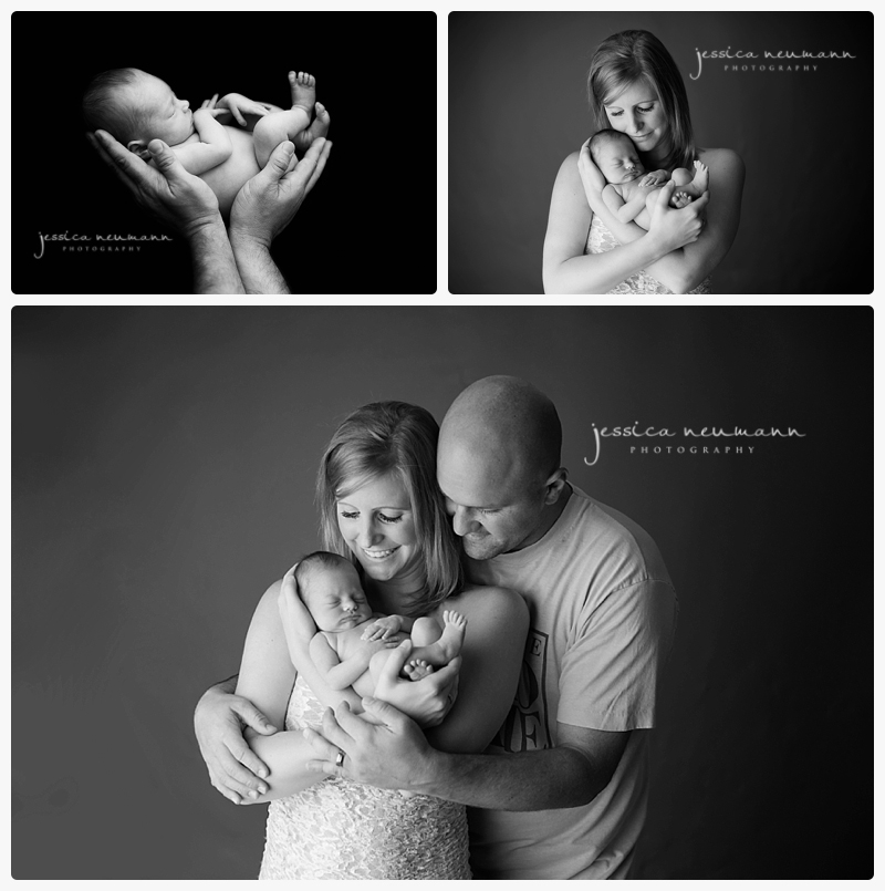 black and white family newborn images