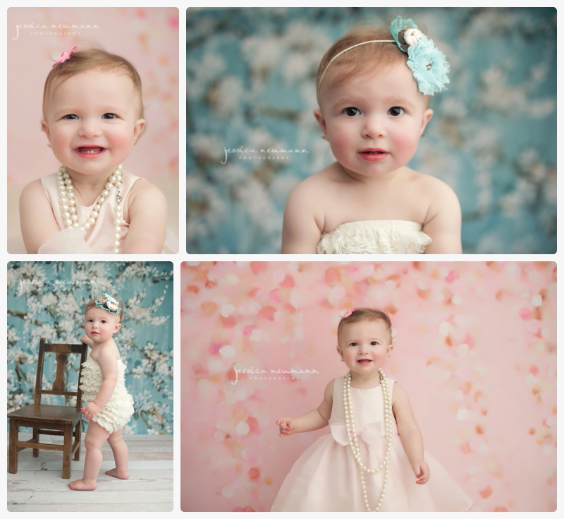 baby portrait Girl smiling pink