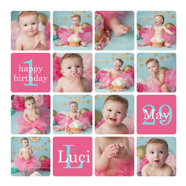 baby girl cake smash with pink and blue