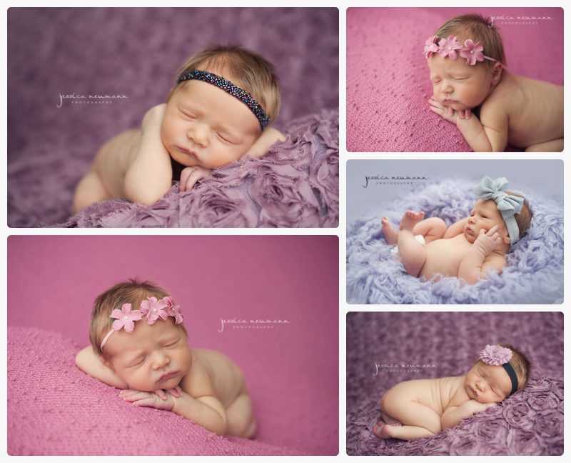 newborn girl in purple and pink studio lighting