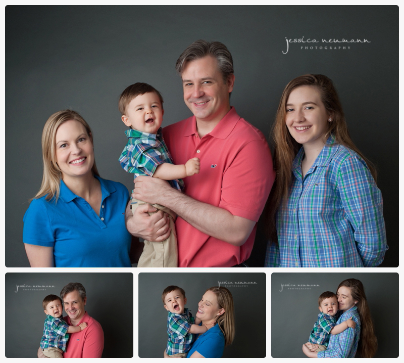 studio light older sibling and 1 year old family photos