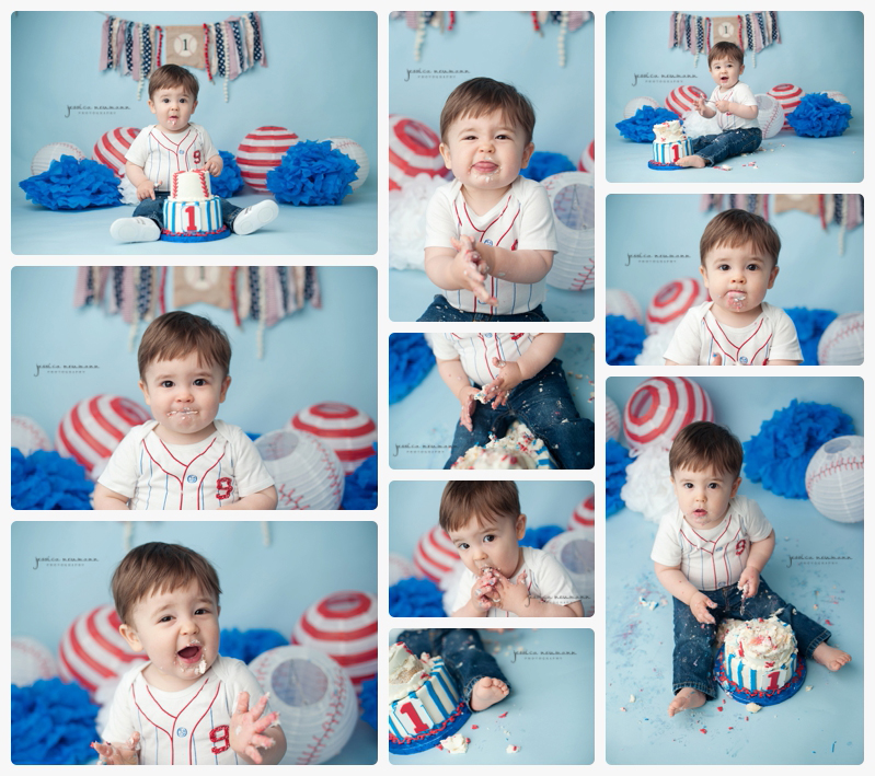 cake smash red and blue and white 1 year old