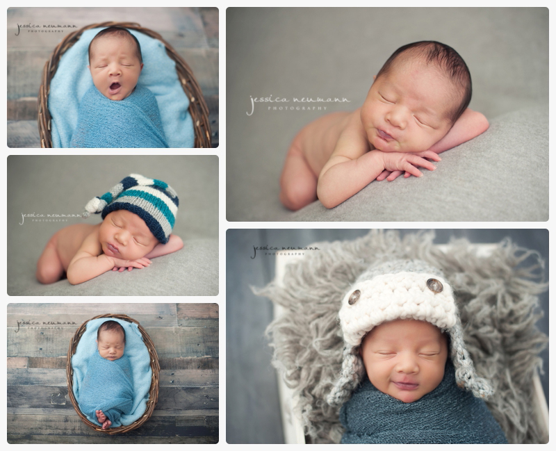 newborn boy in gray and blue with sleepy smiles