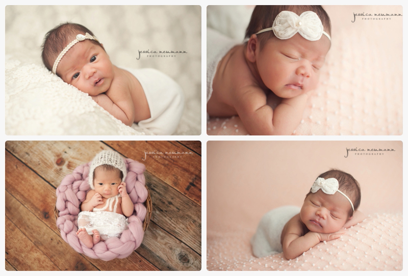 awake alert newborn girl in pink and cream