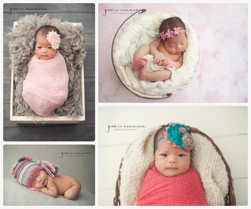 alert newborn girl with eye contact