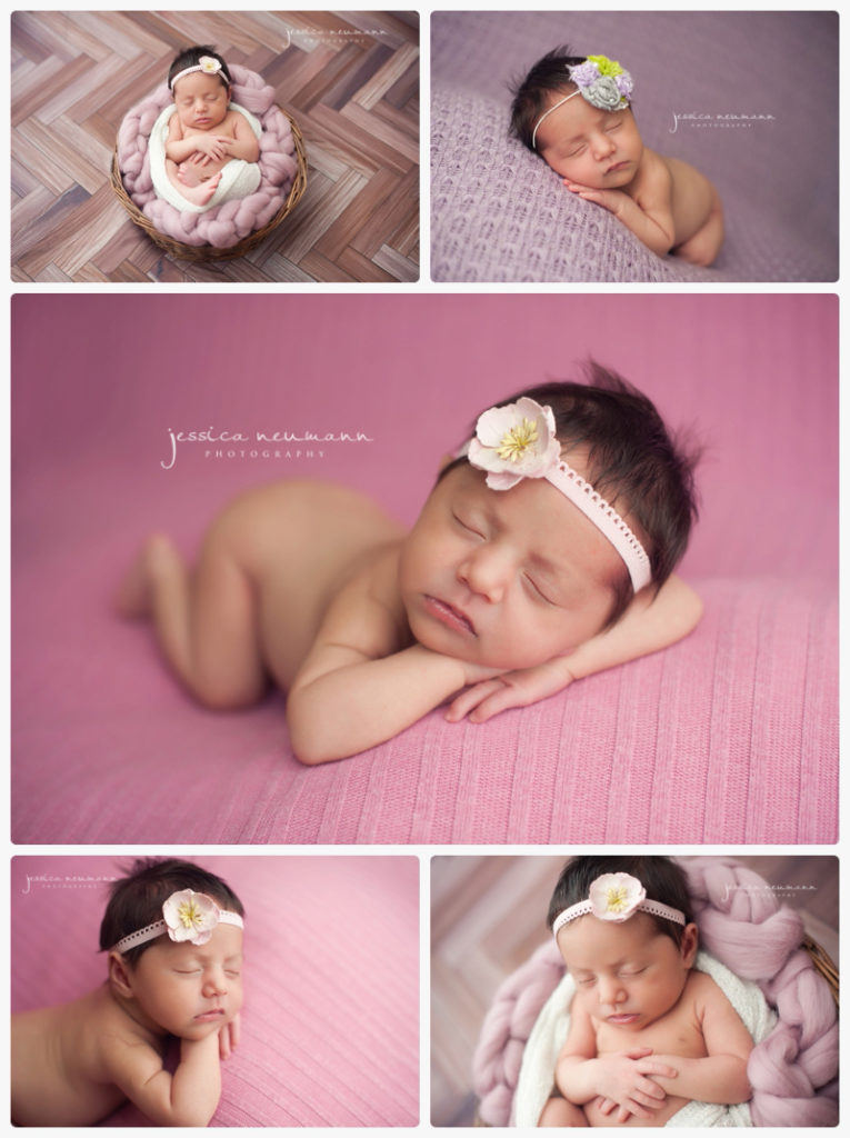 newborn girl in pink and purple set ups