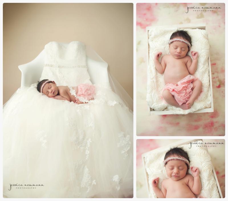 newborn baby girl on mothers wedding dress