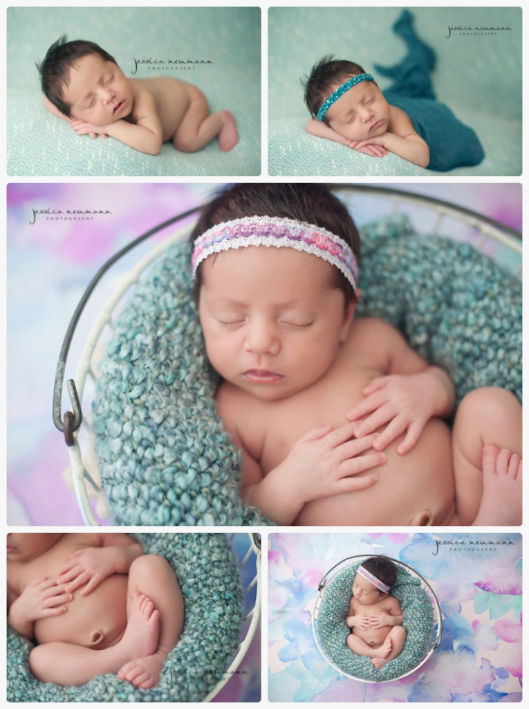newborn girl studio images with blue