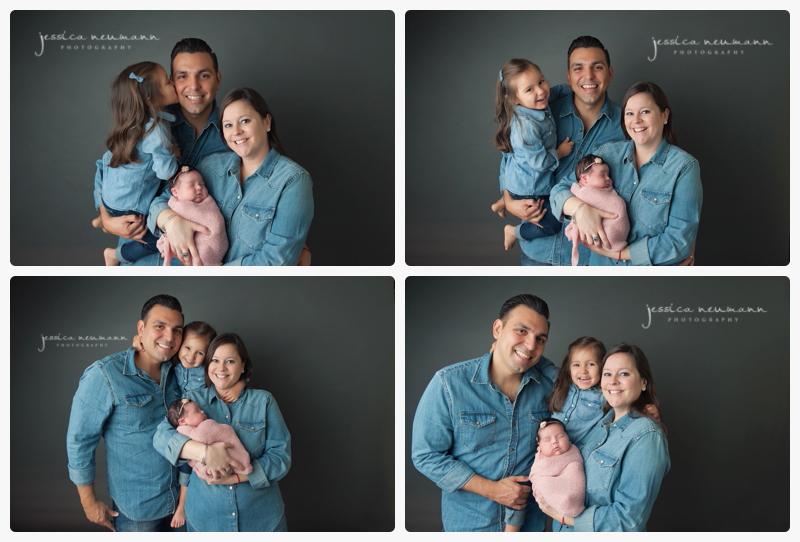 family in denim at newborn baby photoshoot