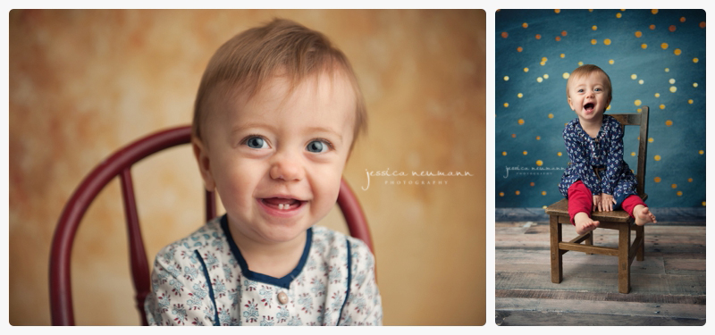 happy one year old in studio