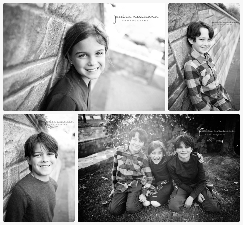 black and white sibling photos