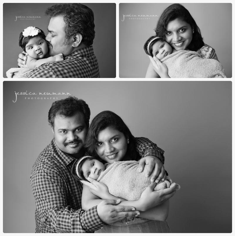 older posed studio newborn with parents