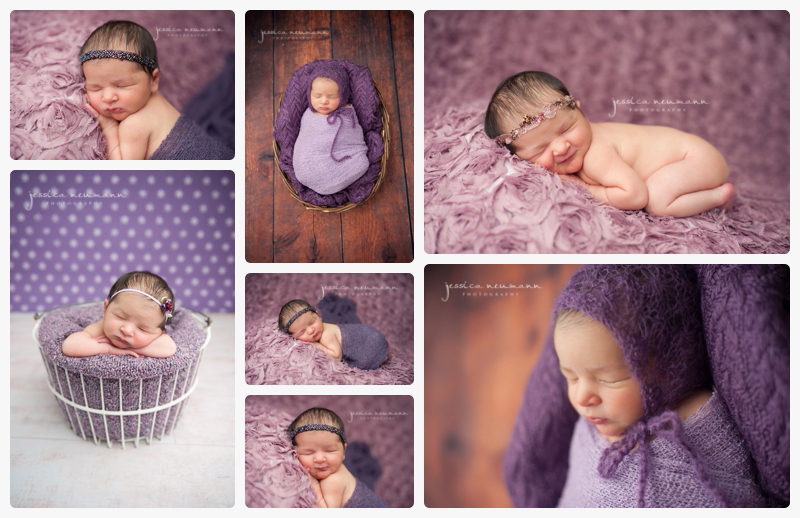 newborn girl posed in studio shots