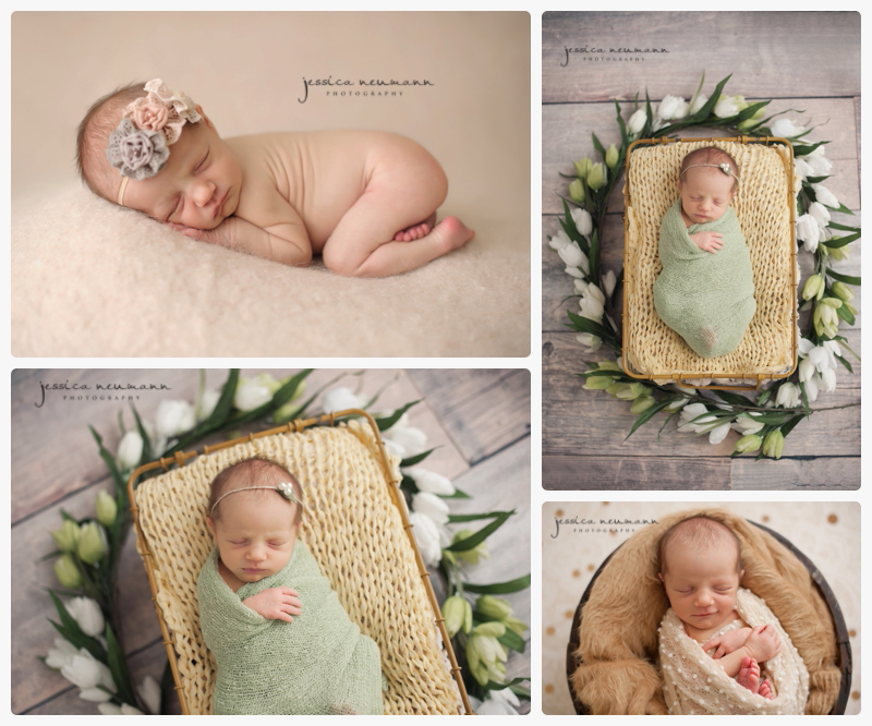 newborn girl photography with spring details