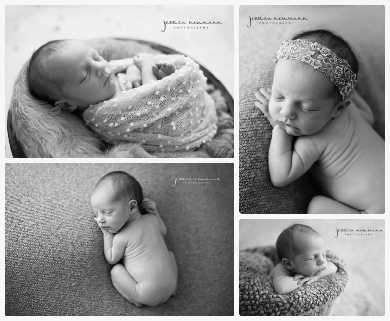 newborn black and white studio images