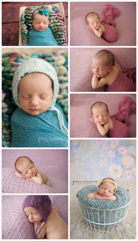 newborn girl with colorful setups