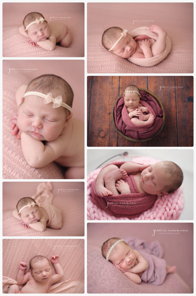 newborn girl pretty in pink