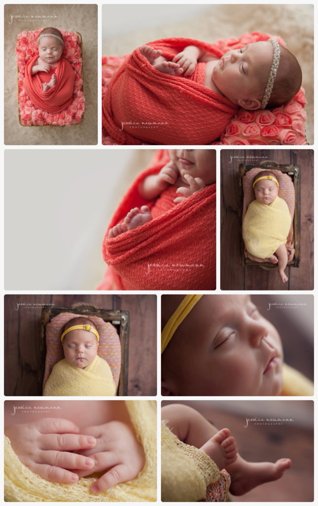 3 month old baby girl posed in newborn shoot