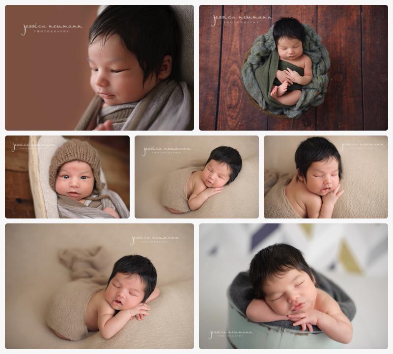 newborn boy with neutral tones in studio photoshoot