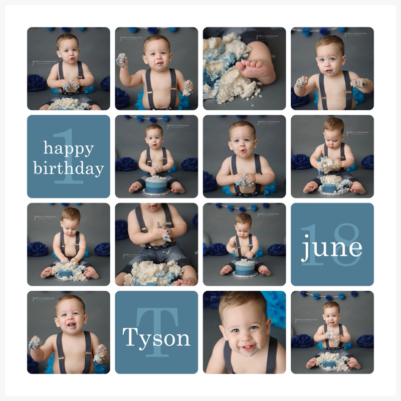one year old cake smash session with blues and grays
