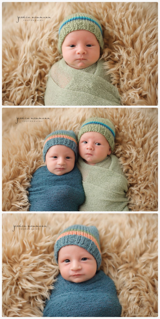 awake newborn twin boys photography