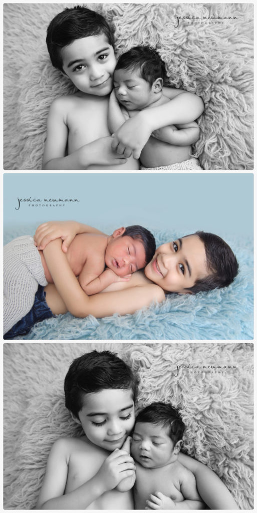 newborn baby and sibling posed in photoshoot