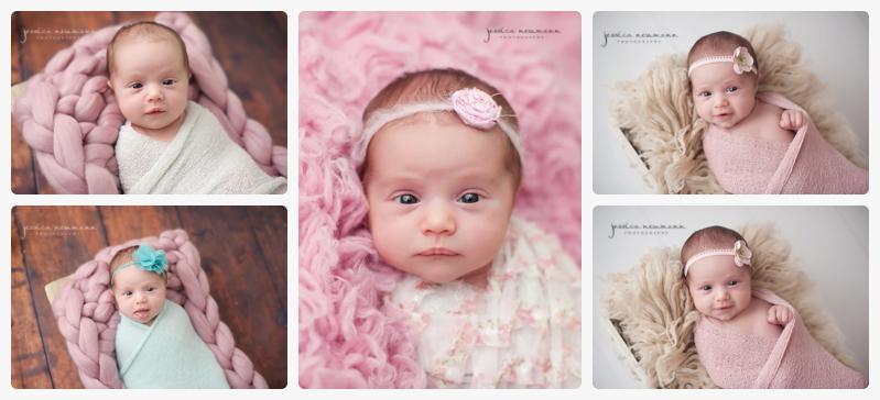 pink and neutral newborn photographs