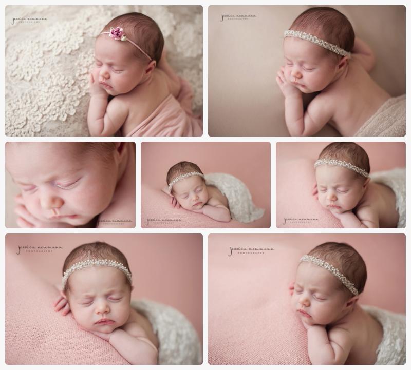 pink and cream posed newborn